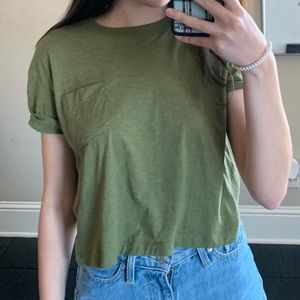 green H&M crop top